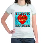 I Love YouTubing Video Lover Jr. Ringer T-Shirt
