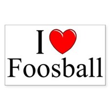 """I Love (Heart) Foosball"" Rectangle Decal"