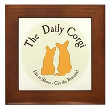 SMALL ROUND daily corgi logo Framed Tile