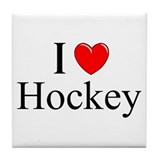 """I Love (Heart) Hockey"" Tile Coaster"