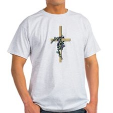 Gold Cross w/Purple Flower's Ash Grey T-Shirt