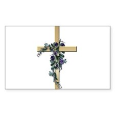 Gold Cross w/Purple Flower's Rectangle Decal