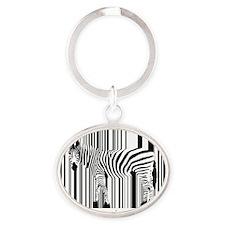 2-zebra-art-big Oval Keychain