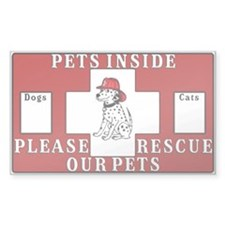 Pets Inside-Pet Alert Sticker (Rectangle 10 Pk)