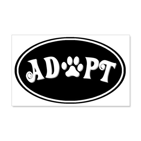Adopt paw oval-black 20x12 Wall Decal