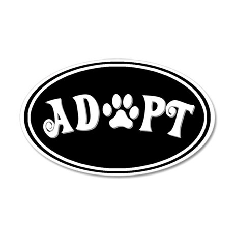 Adopt paw oval-black 35x21 Oval Wall Decal