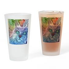 Blue, Bodacious, Beautiful Feline Drinking Glass
