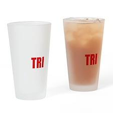 Swim-Bike-Run-Tri-WHITE Drinking Glass