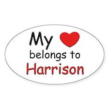 My heart belongs to harrison Oval Decal