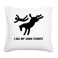 bucking horse I Do My Own Stu Square Canvas Pillow