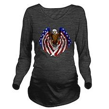 2-FLAGEAGL2 Long Sleeve Maternity T-Shirt