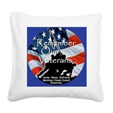 MemorialDayRem E Blue Square Canvas Pillow