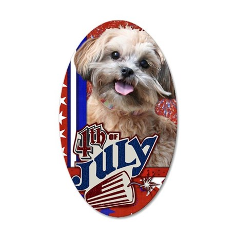July_4_Firecracker_Shih_Poo_ 35x21 Oval Wall Decal
