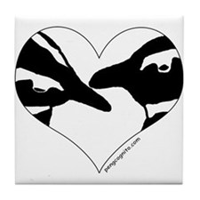 Penguin kiss (heart design) Tile Coaster