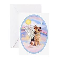 OvOrn-Clouds-German Shepherd 1 Greeting Card