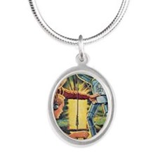 Plays With Robots Silver Oval Necklace