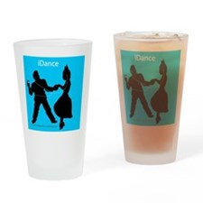 iDance_BlueBG_SquareTile Drinking Glass