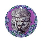 Gray Poodle Ornament (Round)