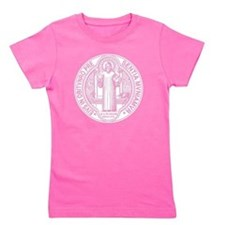 St. Benedict Medal Front  White Girl's Tee