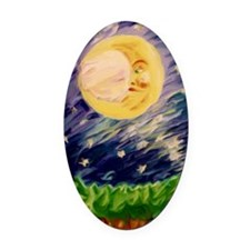 Night Moon Oval Car Magnet