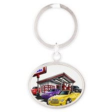 SSR Gas Station Scene Oval Keychain