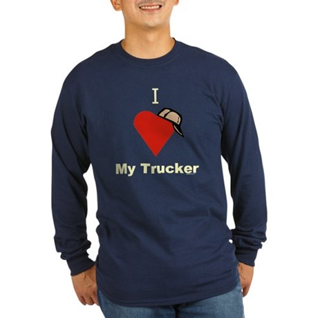 I Love My Trucker Long Sleeve Blue T-Shirt