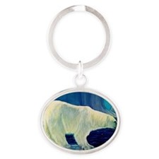 Bear 4 New Heather Blue (4) Oval Keychain