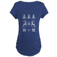 Moose Christmas Pattern Maternity T-Shirt