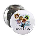 I Love Dogs 2.25&quot; Button (100 pack)