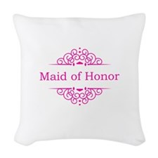 Maid of Honor in hot pink Woven Throw Pillow