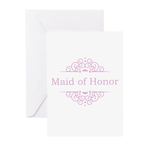 Maid of Honor in pink Greeting Cards