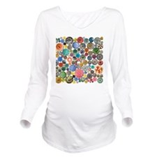 Buttons Square Long Sleeve Maternity T-Shirt