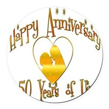 happy anniversary heart 50 Round Car Magnet