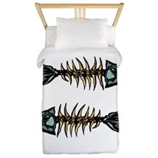 Skeleton White To Fish or Not to Fish Twin Duvet