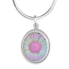 Pink daisy matron of honor Silver Oval Necklace