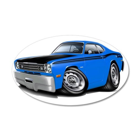 1970-74 Duster 340 Blue-Blac 35x21 Oval Wall Decal