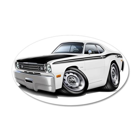 1970-74 Duster 340 White-Bla 35x21 Oval Wall Decal