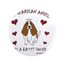 "BassetHoundTan 3.5"" Button"
