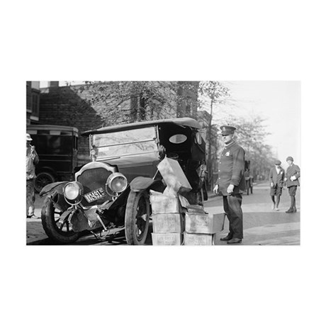Police Capture Bootleggers Car 35x21 Wall Decal