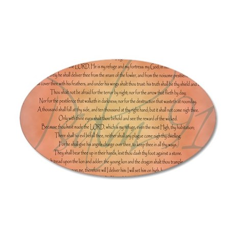 psalm 91 35x21 Oval Wall Decal