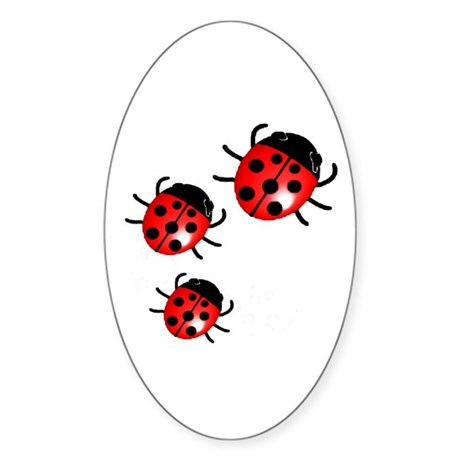 Lady Bugs Oval Sticker
