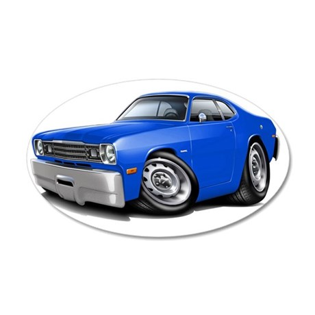 1970-74 Duster Blue Car 35x21 Oval Wall Decal