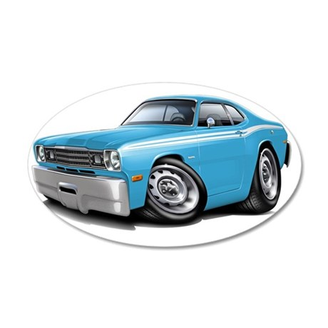 1970-74 Duster Lt Blue-White 35x21 Oval Wall Decal