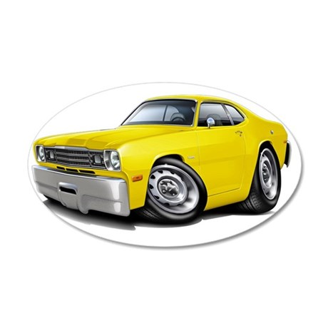 1970-74 Duster Yellow Car 35x21 Oval Wall Decal