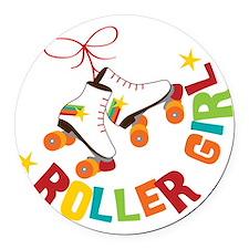 Roller Skate Girl Round Car Magnet
