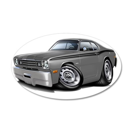 1970-74 Duster Grey-Black Ca 35x21 Oval Wall Decal