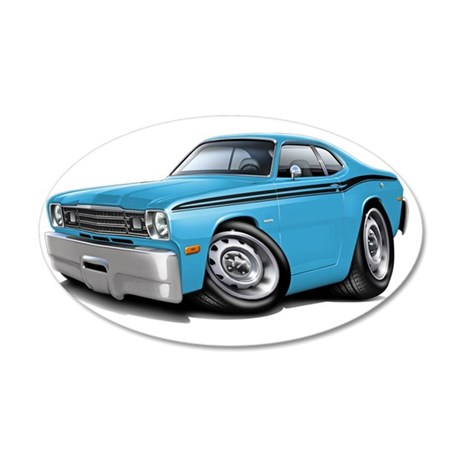 1970-74 Duster Lt Blue-Black 35x21 Oval Wall Decal