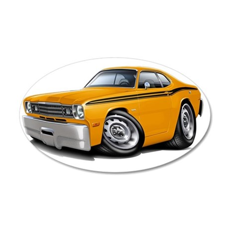 1970-74 Duster Orange Black  35x21 Oval Wall Decal