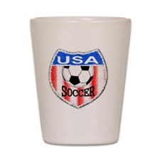 USA Soccer Shield stripes red white and Shot Glass