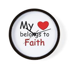 My heart belongs to faith Wall Clock
